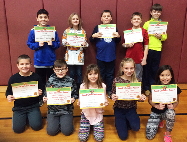 5th graders pose with their Character Education Leader Awards