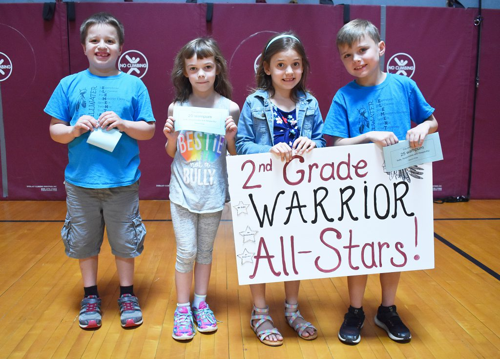 Second graders standing behind sign