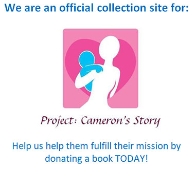 graphic saying We're an official collection site for Project: Cameron's Story