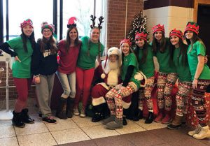 group of students with Santa last school year