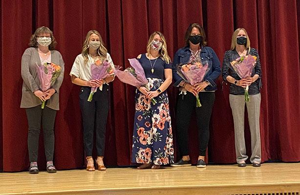 from-left Jenna Hiltsley, Emily Malinowski, Danielle Wright, Sherri Dockum, Hillary Ovsak