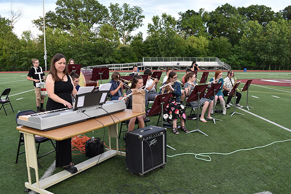 band playing music on field