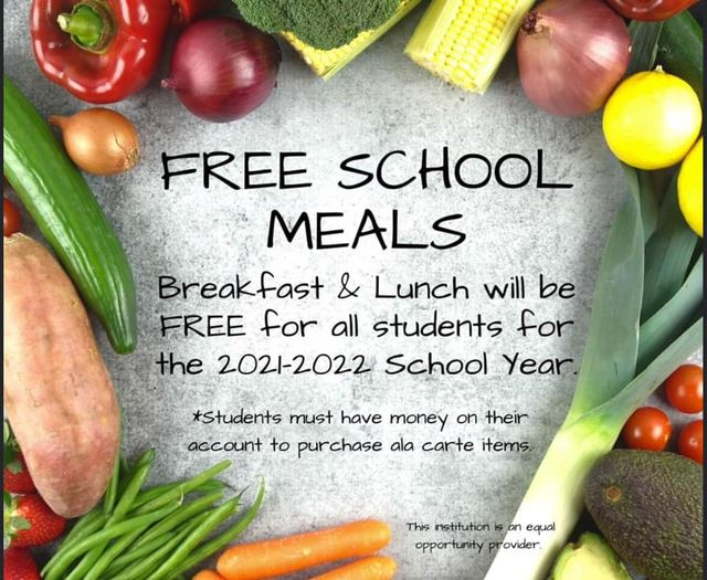 vegetables surrounding words Free School Meals and information included in web article